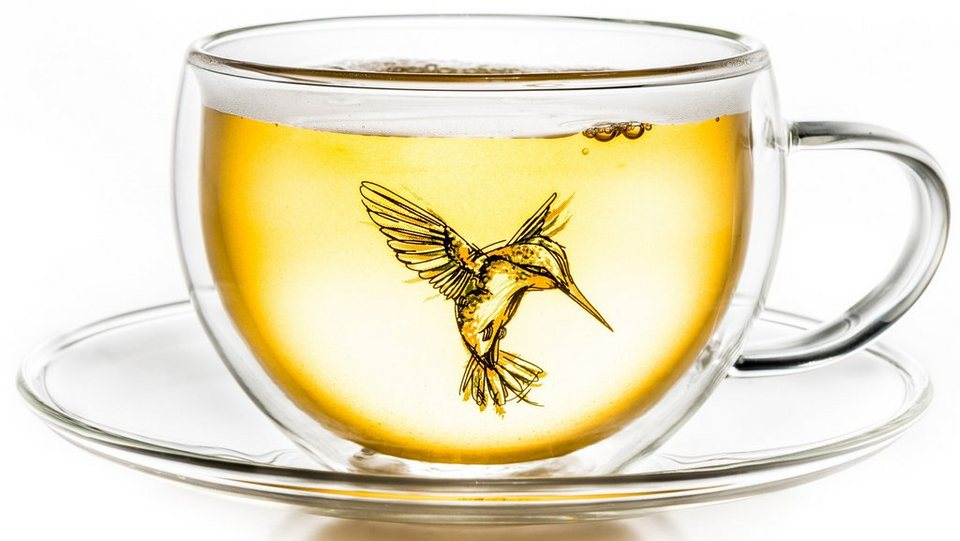 Creano Thermo-Tasse, grün, doppelwandige Tee-Tasse, Latte Macchiato Tasse, »Hummi« in transparent