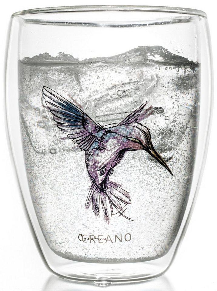 Creano Thermo-Glas, lila, doppelwandiges Tee-Glas, Latte Macchiato Glas, »Hummi« in transparent