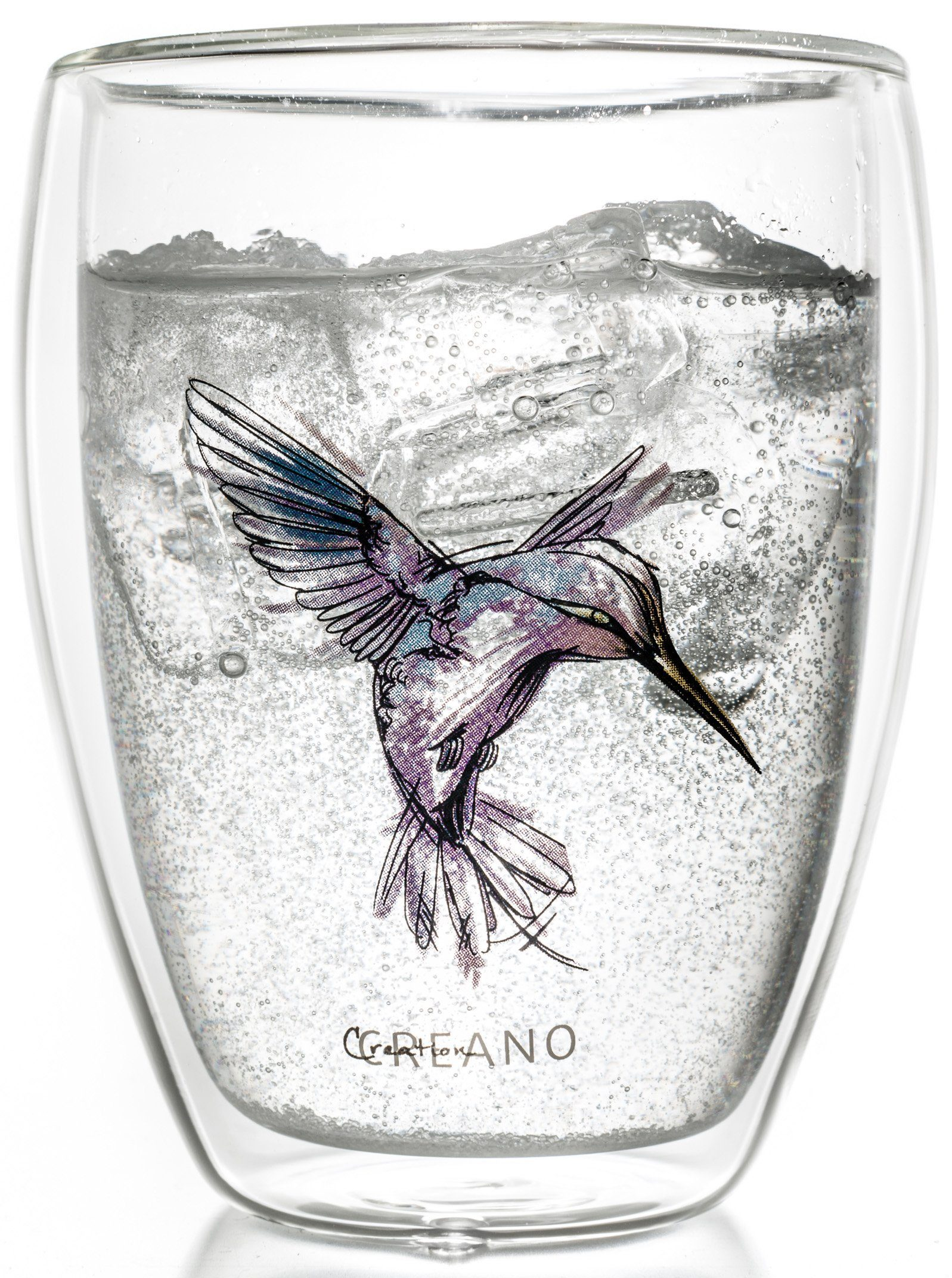 Creano Thermo-Glas, lila, doppelwandiges Tee-Glas, Latte Macchiato Glas, »Hummi«