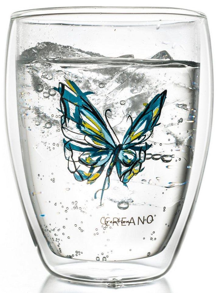 Creano Thermo-Glas, blau, doppelwandiges Tee-Glas, Latte Macchiato Glas, »Colourfly« in transparent/blau