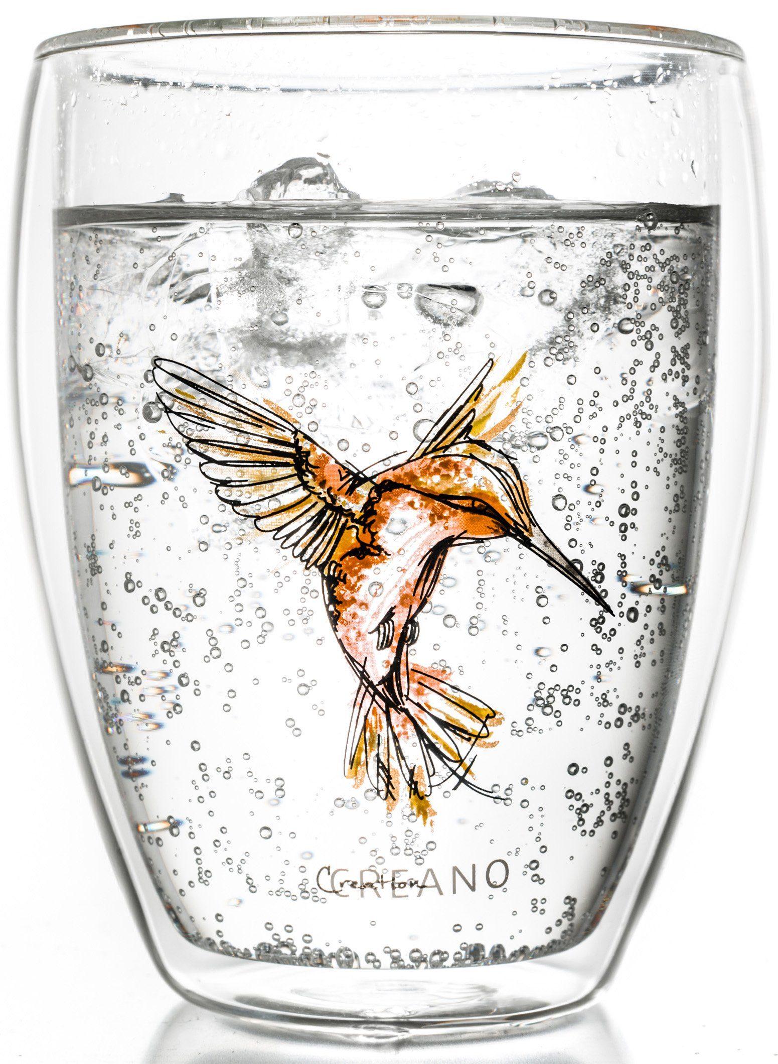 Creano Thermo-Glas, orange, doppelwandiges Tee-Glas, Latte Macchiato Glas, »Hummi«