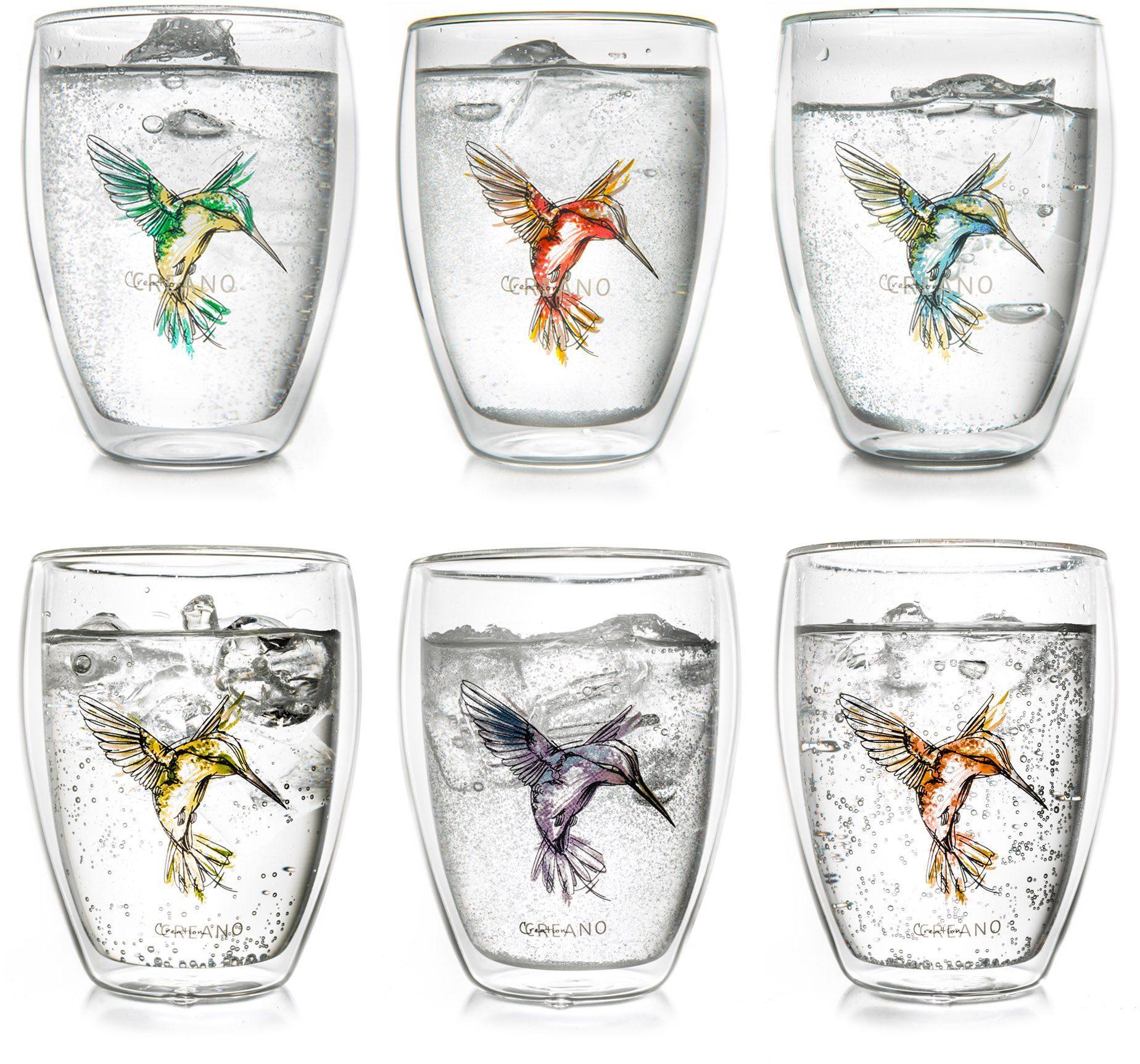 Creano Thermo-Glas, 6-er Set, doppelwandiges Tee-Glas, Latte Macchiato Glas, »Hummi«