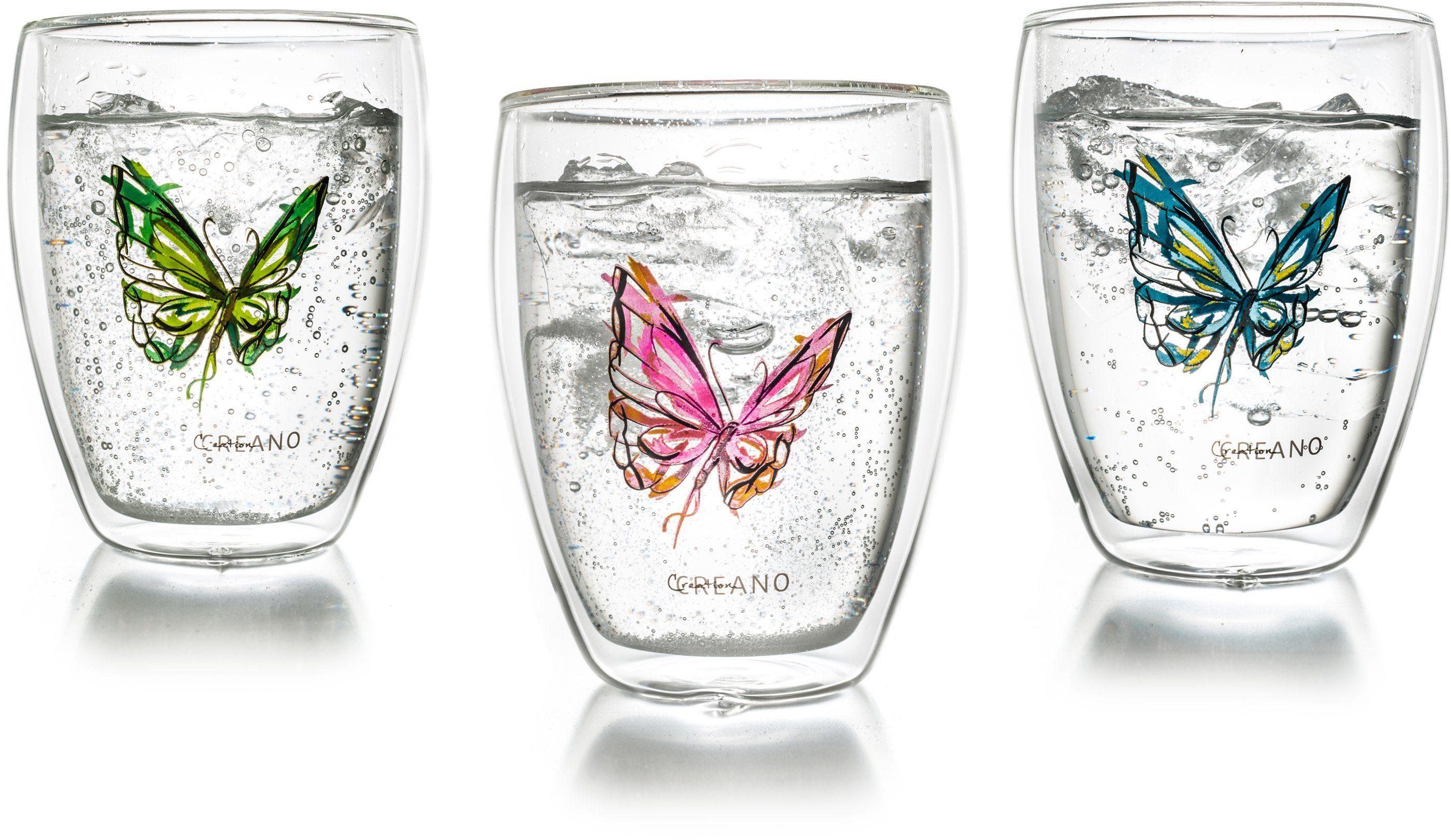 Creano Thermo-Glas, 3-er Set, doppelwandiges Tee-Glas, Latte Macchiato Glas, »Colourfly«