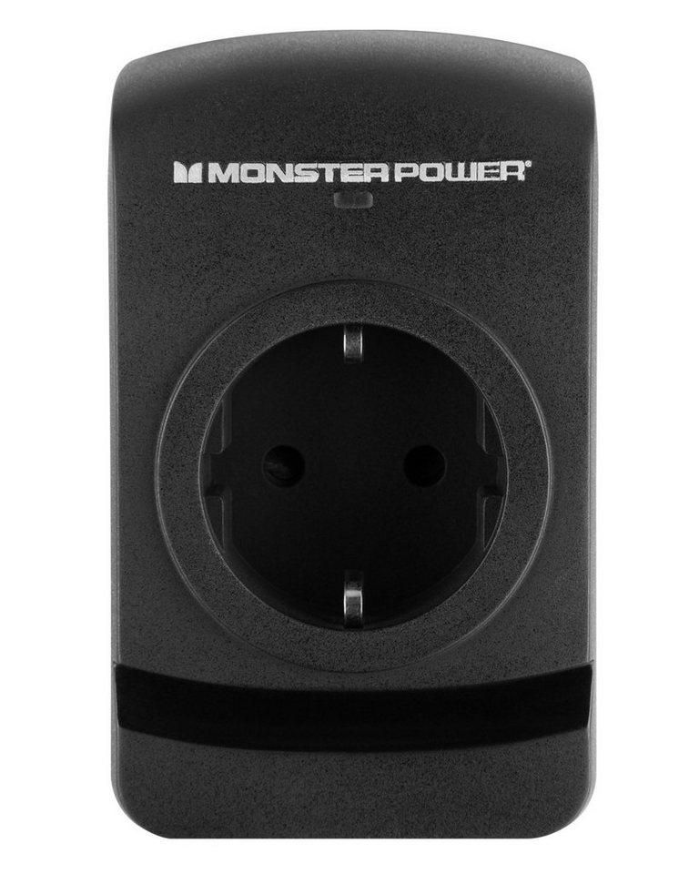 Monster 1-fache Steckdosenleiste mit Überspannungsschutz in black