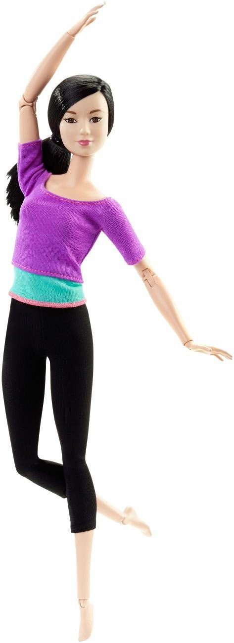 Mattel Puppe mit 22 Gelenken, »Barbie Made to Move mit lila Top«