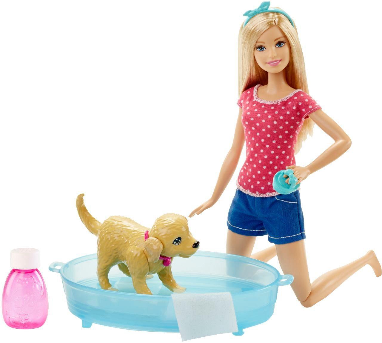 Mattel Puppe mit Hündchen, »Barbie Hundebad«