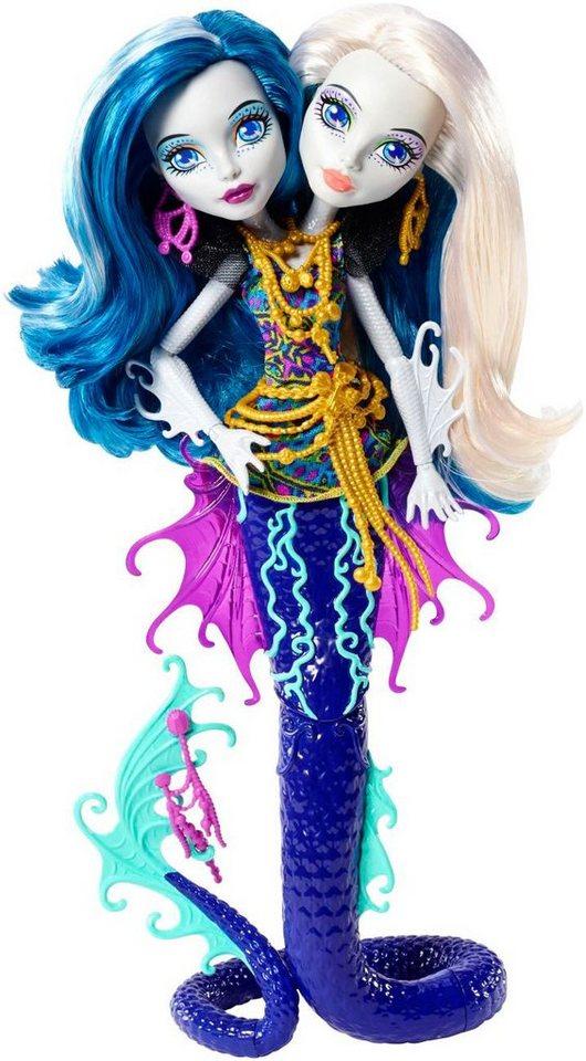 Mattel Puppe mit zwei Köpfen, »Monster High Das große Schreckensriff Peri & Pearl Serpentine«