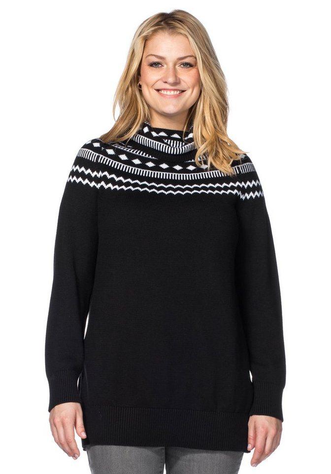 sheego Casual Rollkragenpullover mit Norwegermuster in schwarz-weiß