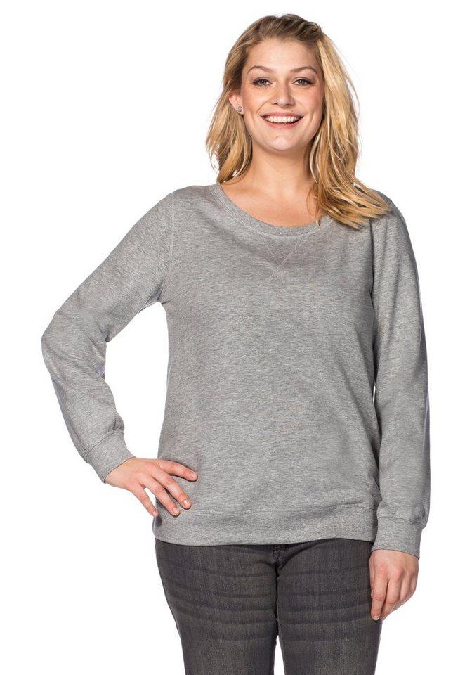 sheego Casual Sweatshirt mit Rippbündchen in grau meliert