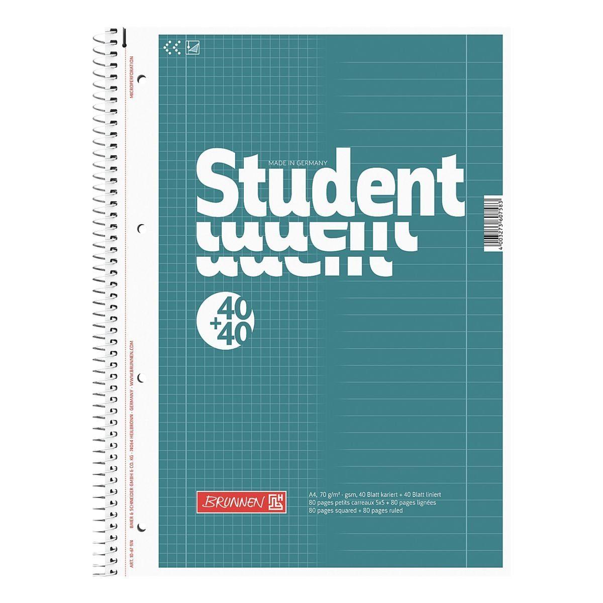 BRUNNEN Collegeblock A4 Sonderlineatur, holzfreies Papier »Student Duo«