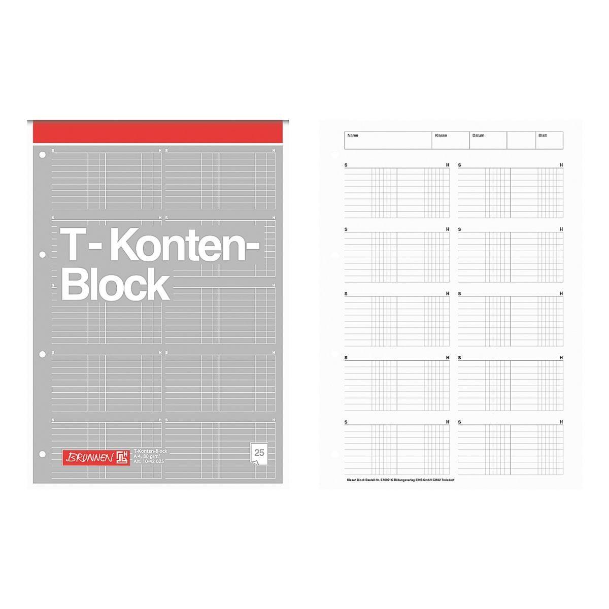 Brunnen T-Konten-Block A4 Sonderlineatur »1042025«