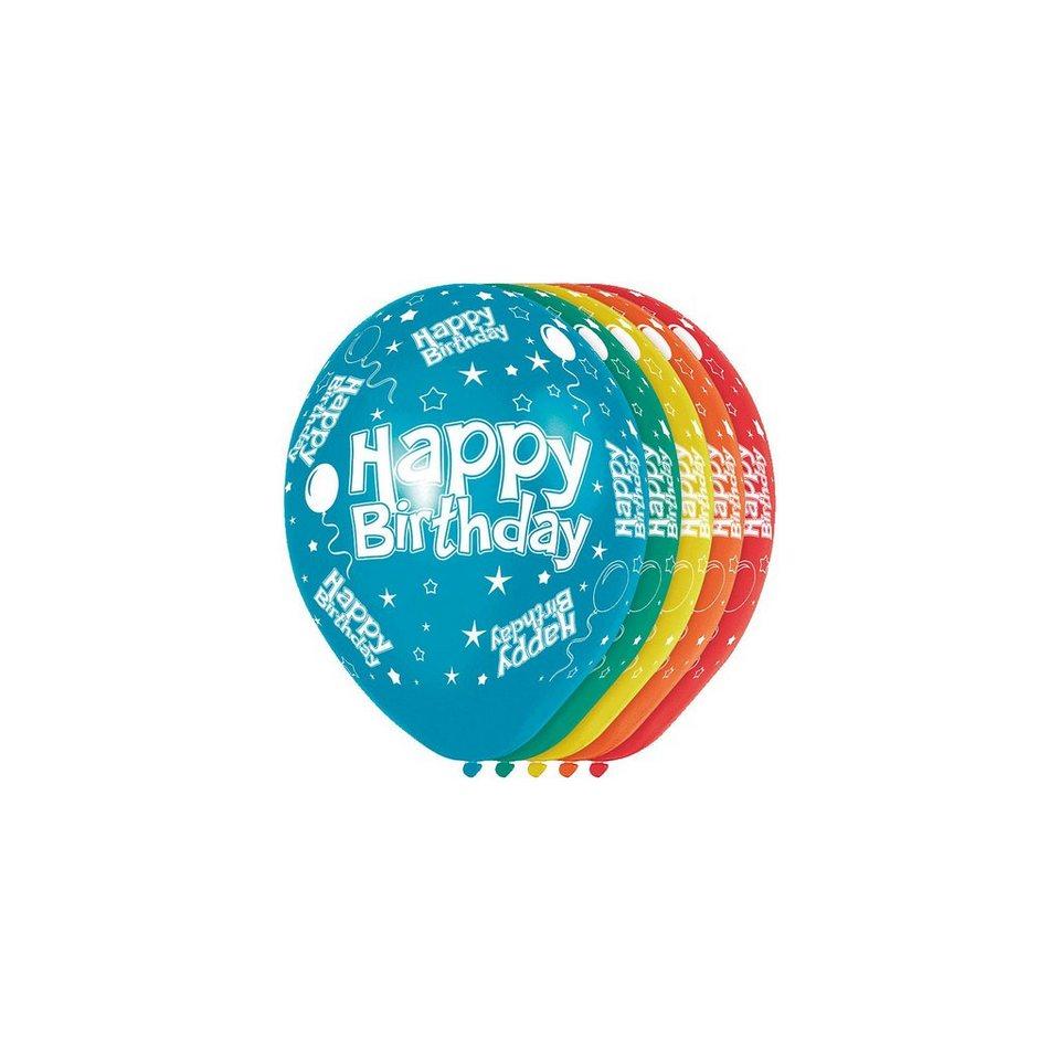 Luftbballon Happy Birthday, 5 Stück in bunt
