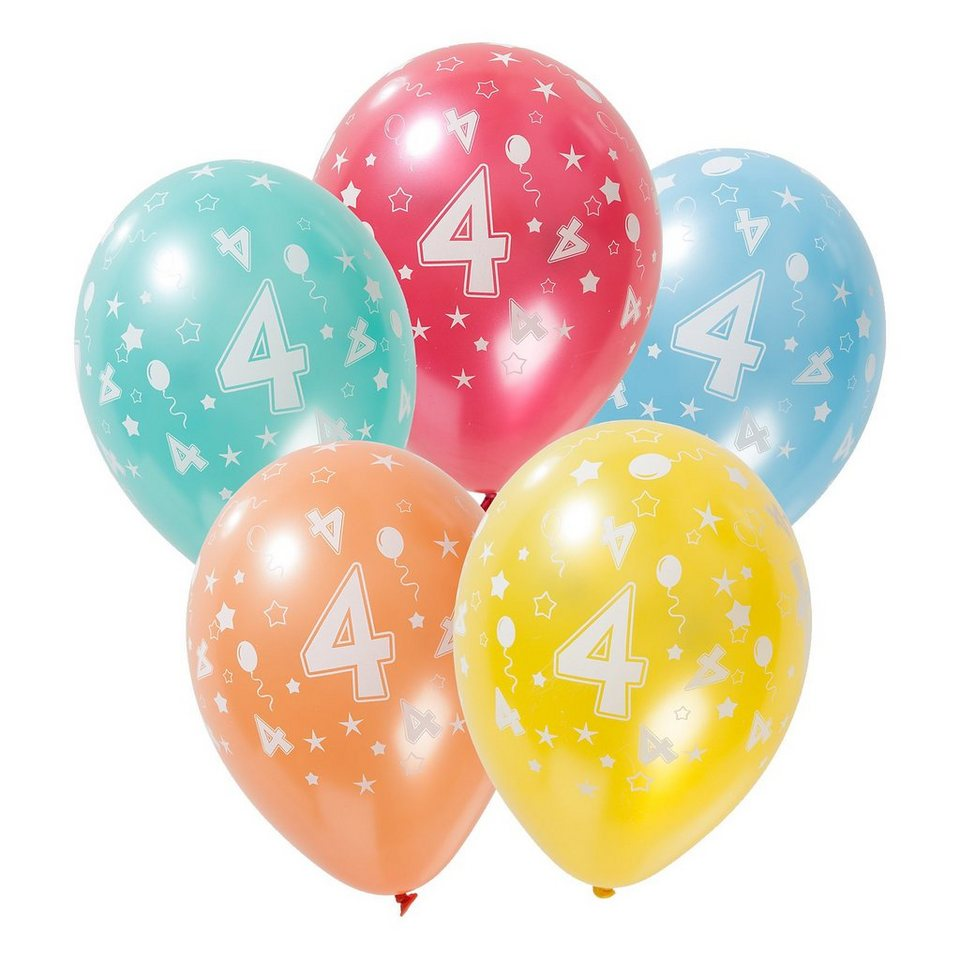 Zahlenluftballon 4, 5 Stück in bunt