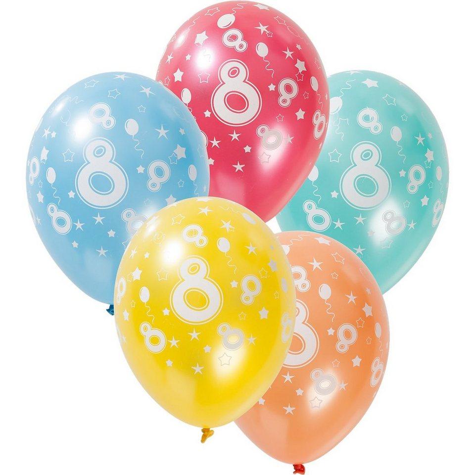 Zahlenluftballon 8, 5 Stück in bunt
