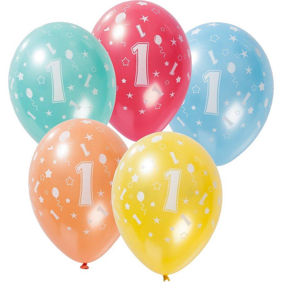 Zahlenluftballon 1, 5 Stück in bunt