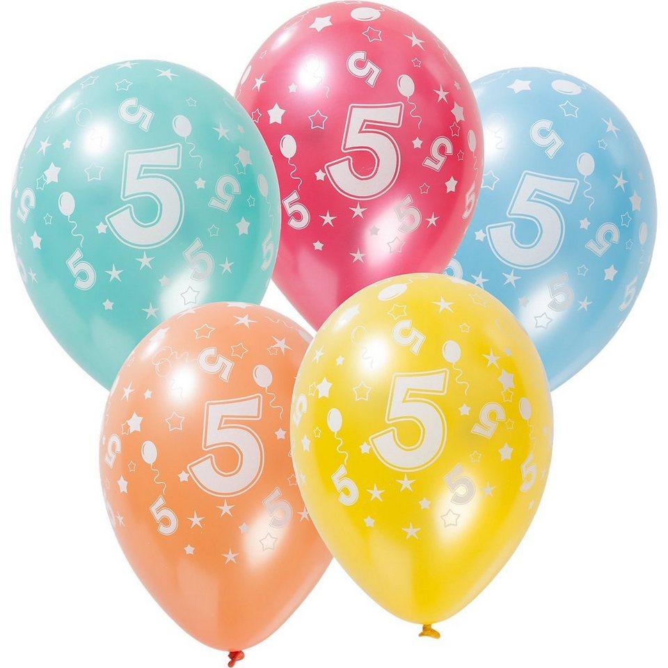 Zahlenluftballon 5, 5 Stück in bunt