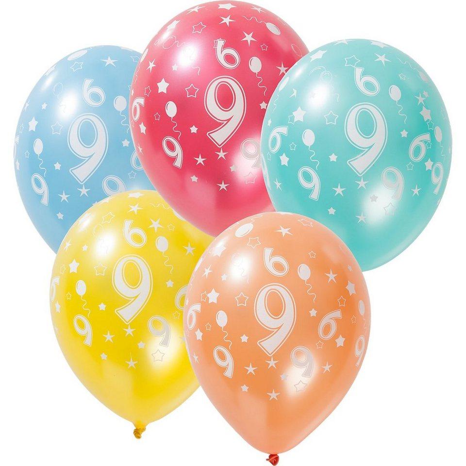 Zahlenluftballon 9, 5 Stück in bunt