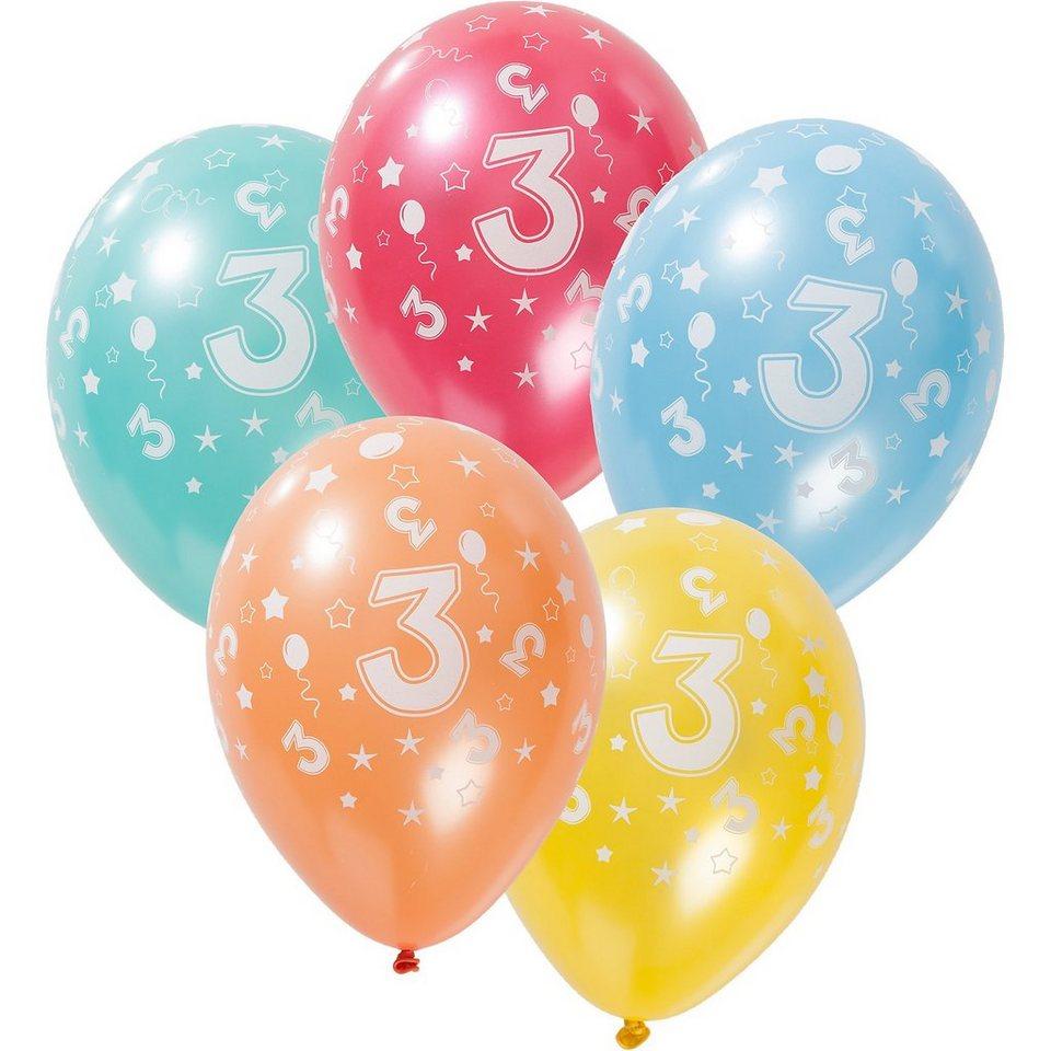 Zahlenluftballon 3, 5 Stück in bunt