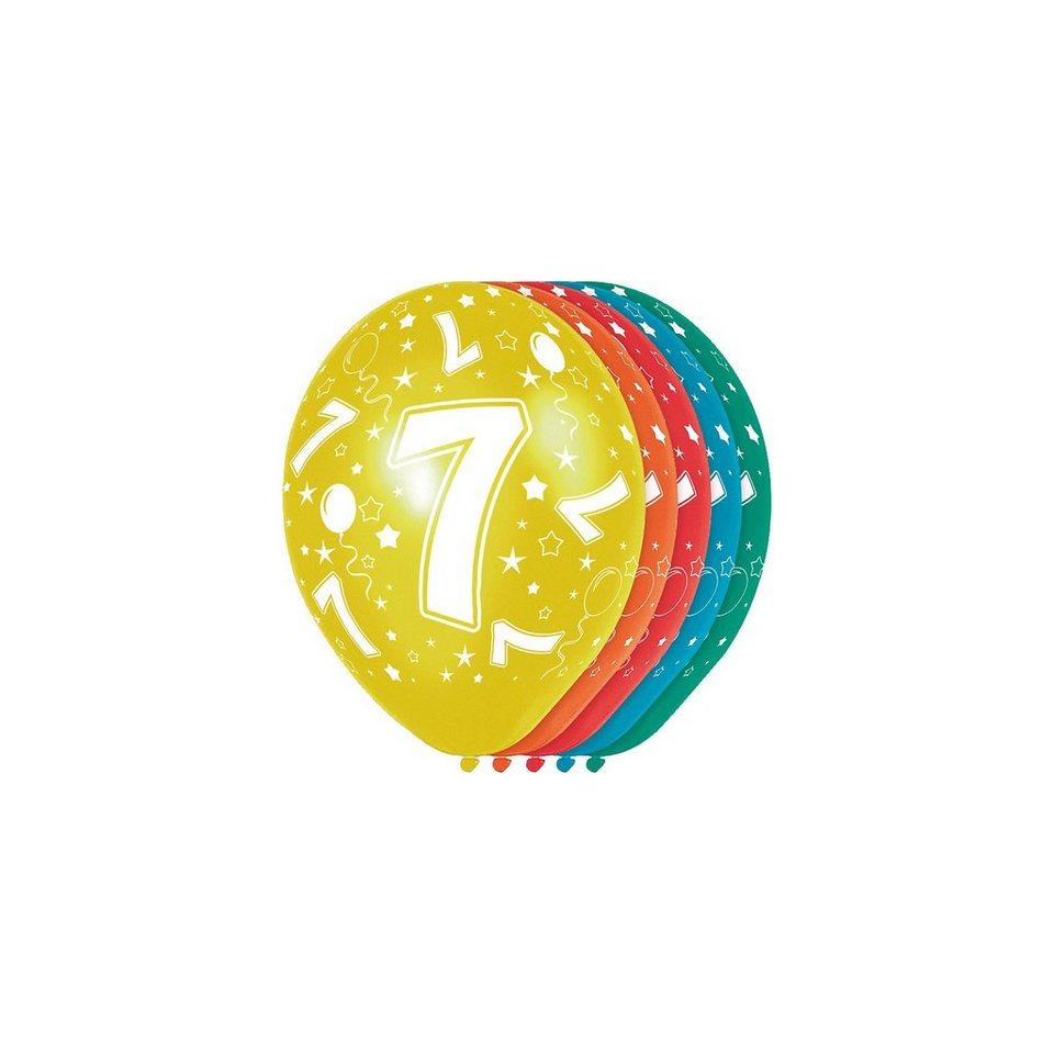 Zahlenluftballon 7, 5 Stück in bunt