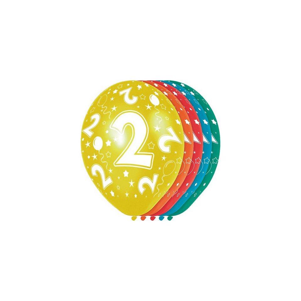 Zahlenluftballon 2, 5 Stück in bunt