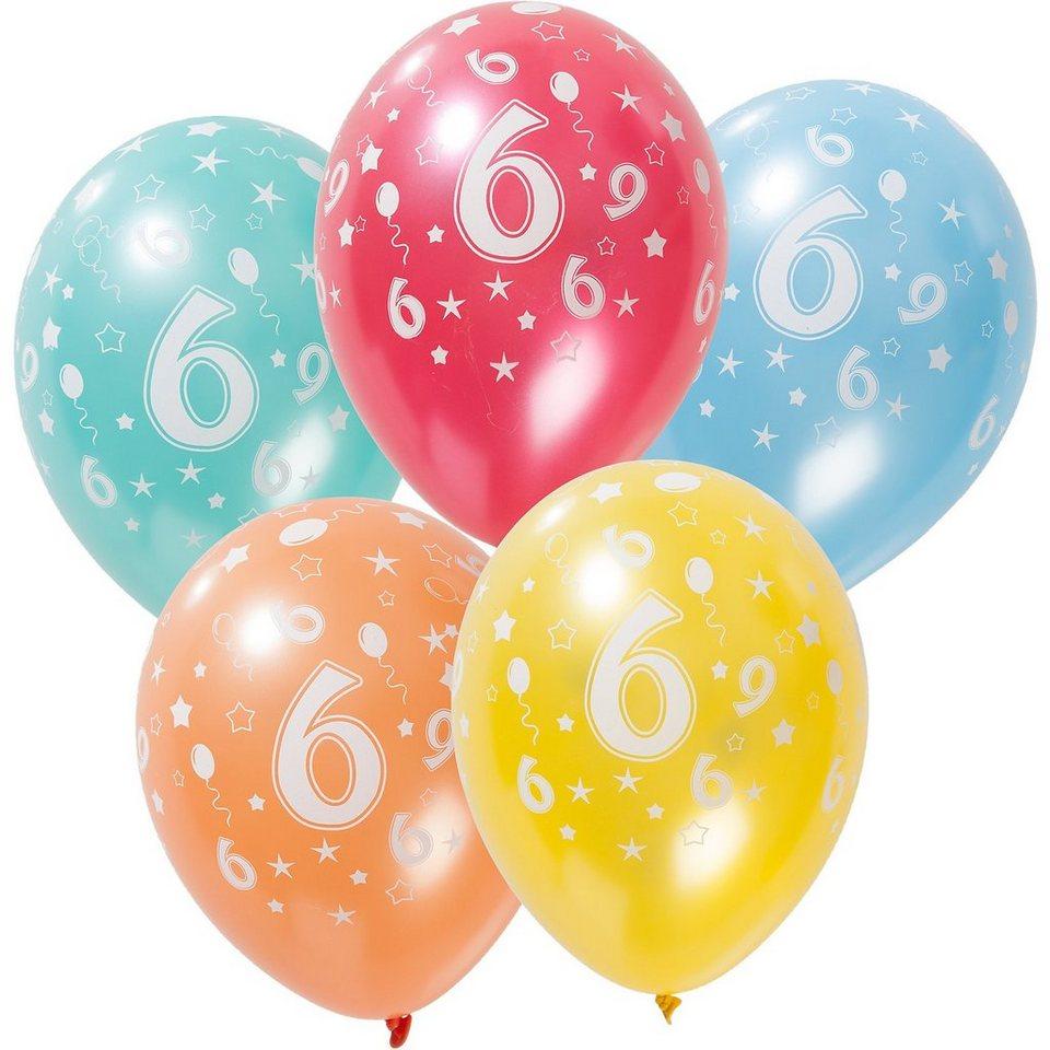 Zahlenluftballon 6, 5 Stück in bunt