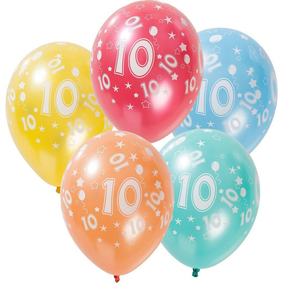Zahlenluftballon 10, 5 Stück in bunt