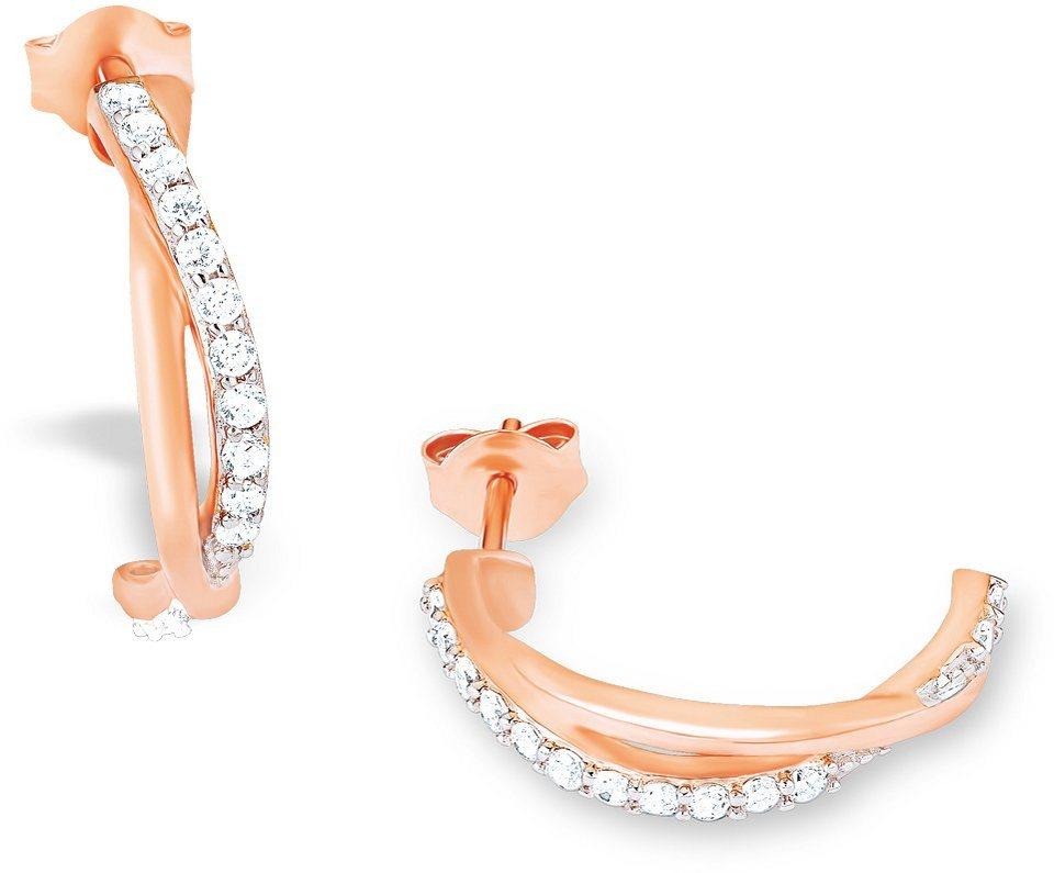 Amor Paar Creolen mit Zirkonia, »E93/7 523257« in Silber 925-roségoldfarben