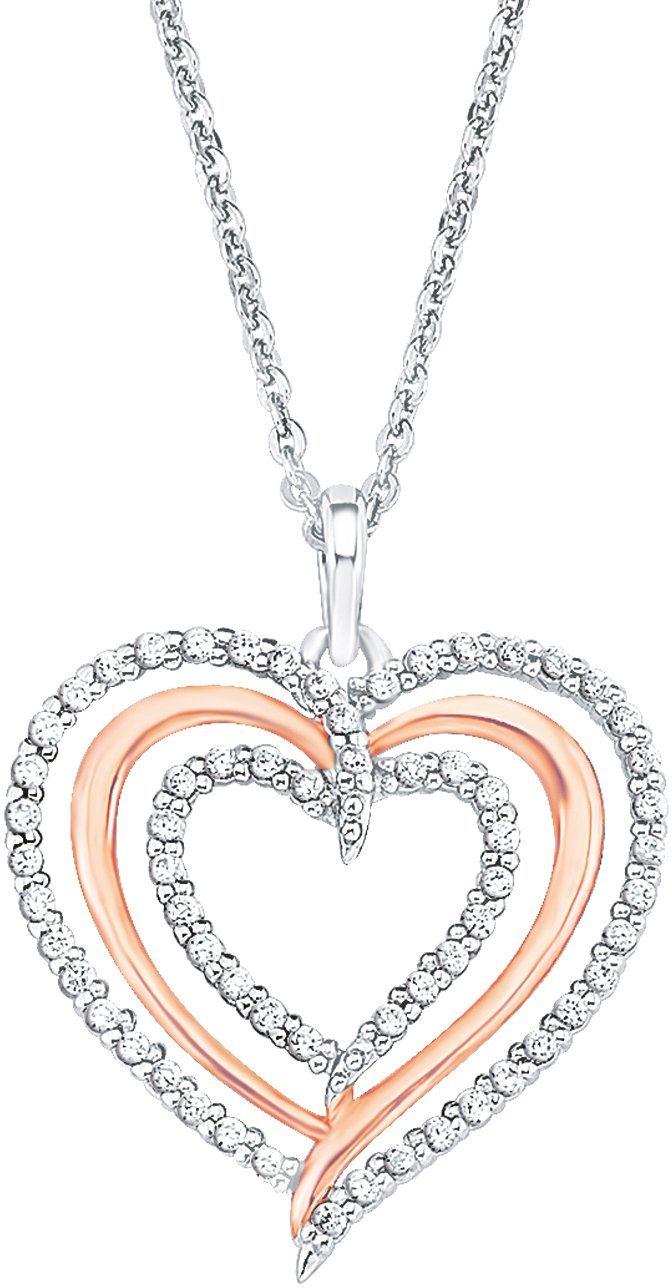 Amor Kette mit Anhänger »Herz, 9222971« mit Zirkonia | Schmuck > Halsketten > Herzketten | Silber | Amor