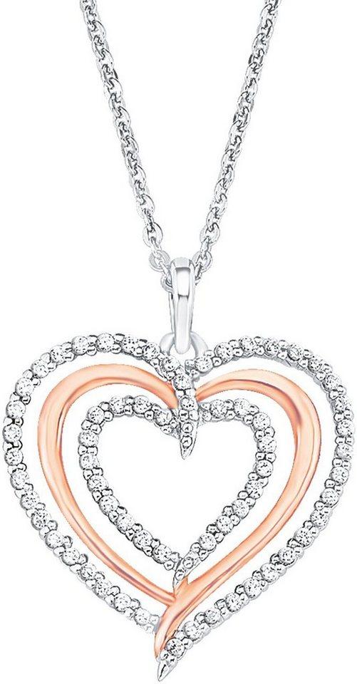 Amor Kette mit Anhänger mit Zirkonia, »Herz, E93/3 515016« in Silber 925-roségoldfarben-silberfarben