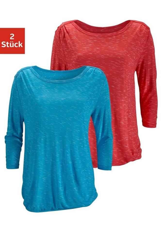 LASCANA ¾-Shirts mit Schulterraffung (2 Stück) in koralle + türkis