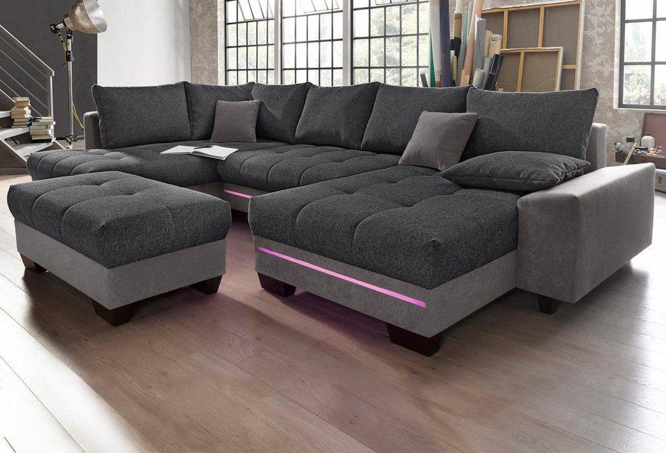 wohnlandschaft mit beleuchtung wahlweise mit bluetooth soundsystem online kaufen otto. Black Bedroom Furniture Sets. Home Design Ideas