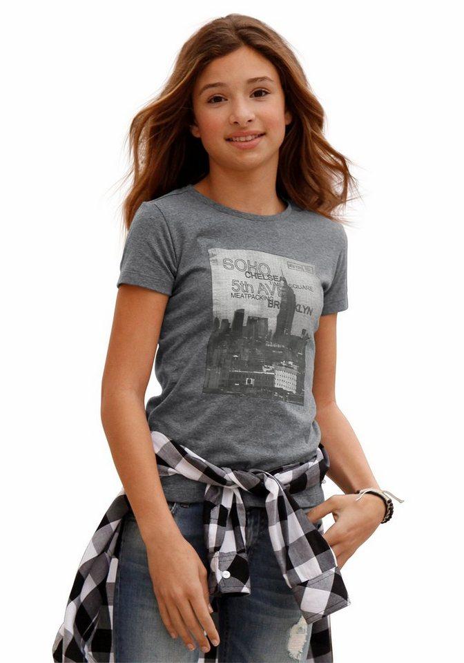 Arizona T-Shirt mit Frontdruck in grau-meliert