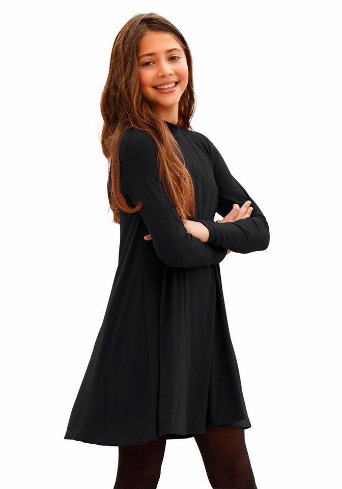 Arizona Jerseykleid mit kleinem Stehkragen in schwarz