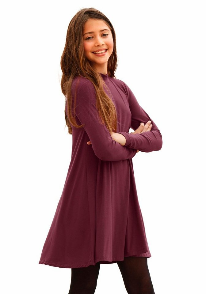 Arizona Jerseykleid mit kleinem Stehkragen in bordeaux-rot