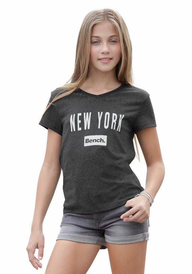 Bench T-Shirt mit V-Ausschnitt in anthrazit-meliert