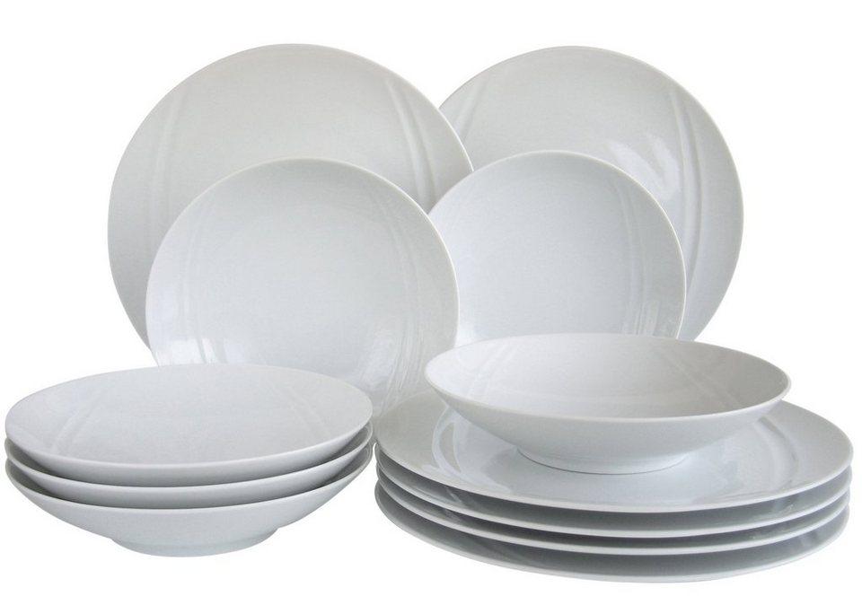 CreaTable Tafelservice, Porzellan, 12 Teile, »CARAT« in weiß