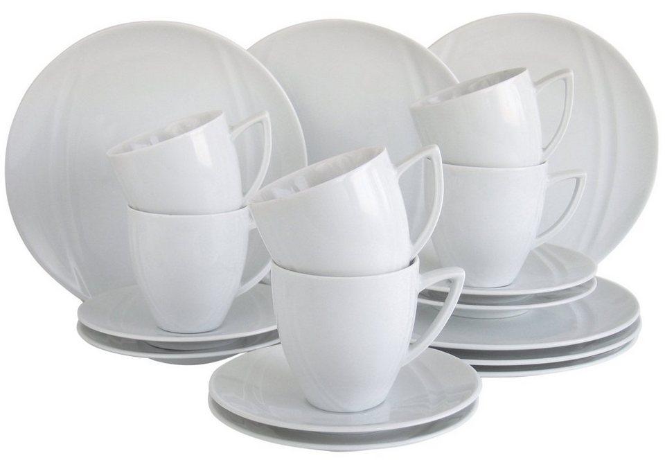 CreaTable Kaffeeservice, Porzellan, 18 Teile, »CARAT« in weiß