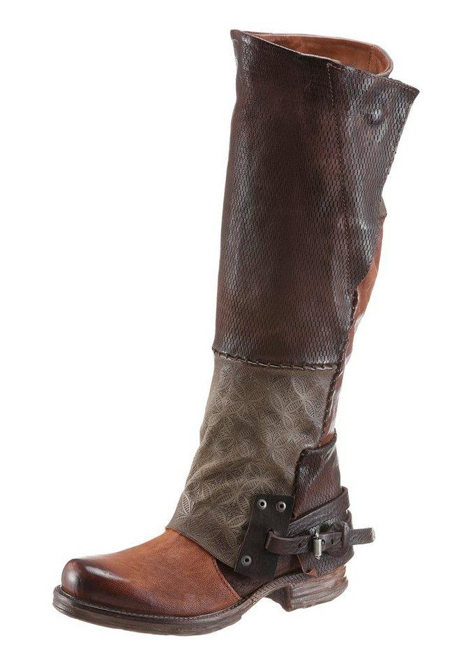 A.S.98 Stiefel mit regulierbarer Weite von Normal bis XL in cognac-khaki-dunkelbraun