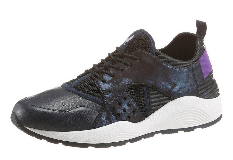 Geox Sneaker in schimmernder Optik in schwarz-blau