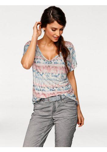 Damen B.C. BEST CONNECTIONS by Heine Oversized-Shirt im Batik-Dessin blau | 08698304689810