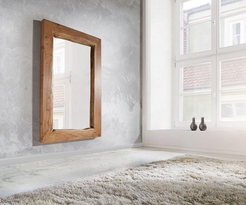 DELIFE Spiegel Live-Edge Akazie Natur 135x85 cm massiv Baumkante in Braun