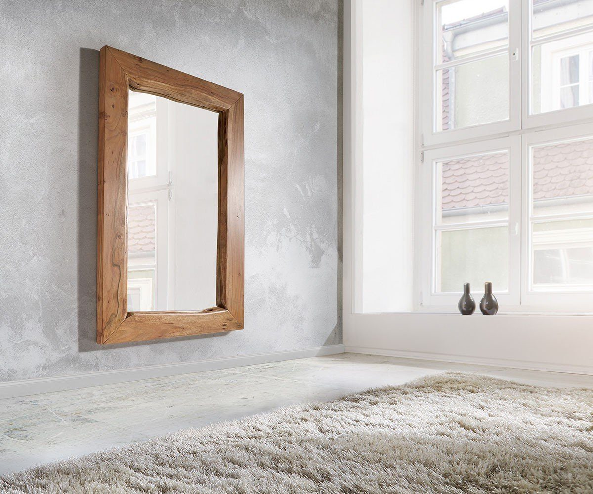 DELIFE Spiegel Live-Edge Akazie Natur 135x85 cm massiv Baumkante