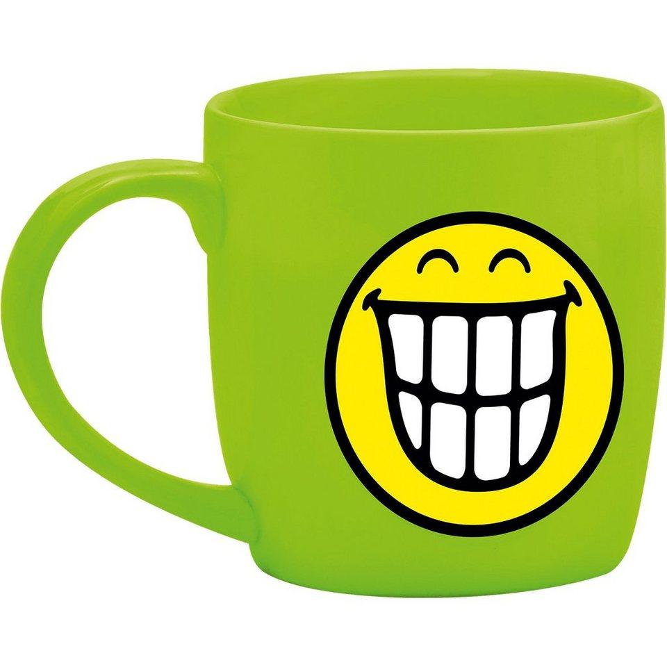 Smiley Tasse, grün in grün