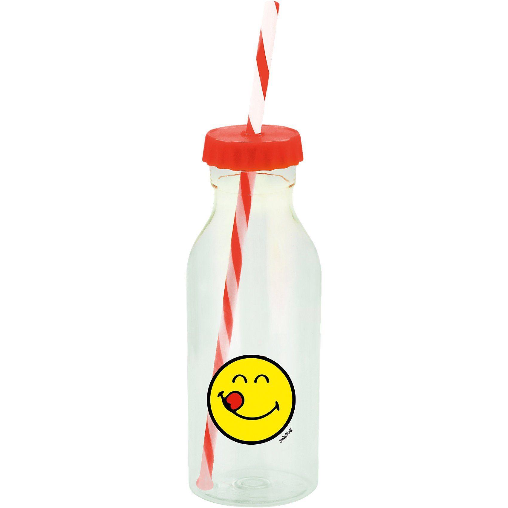 Smiley Sodaflasche mit Strohhalm, koralle