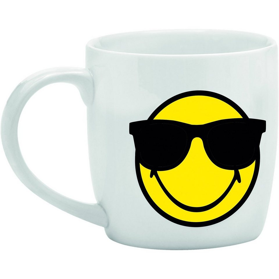 Smiley Tasse, weiß in weiß