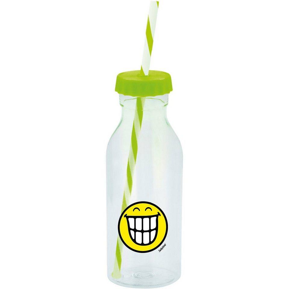 Smiley Sodaflasche mit Strohhalm, grün in grün