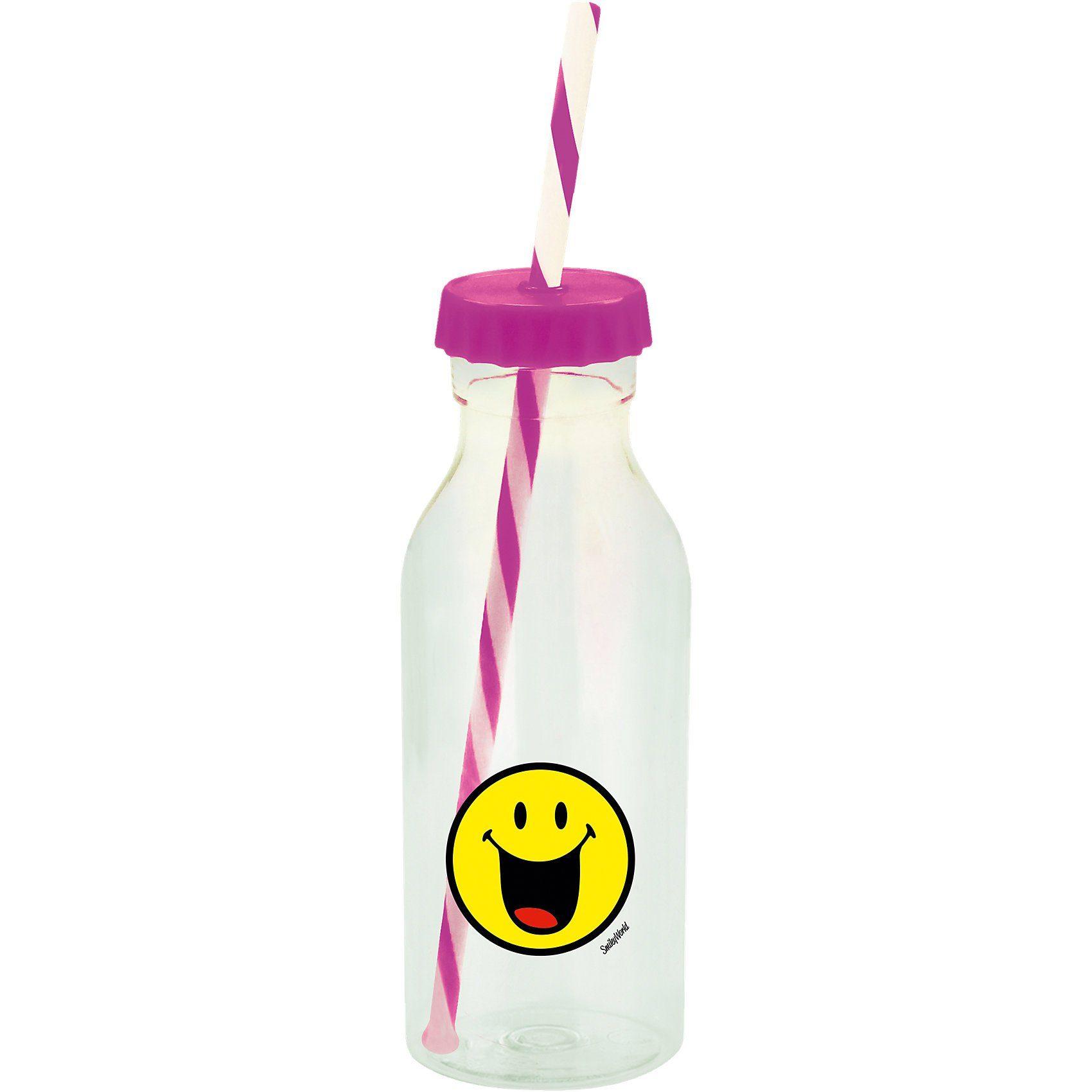 Smiley Sodaflasche mit Strohhalm, pink