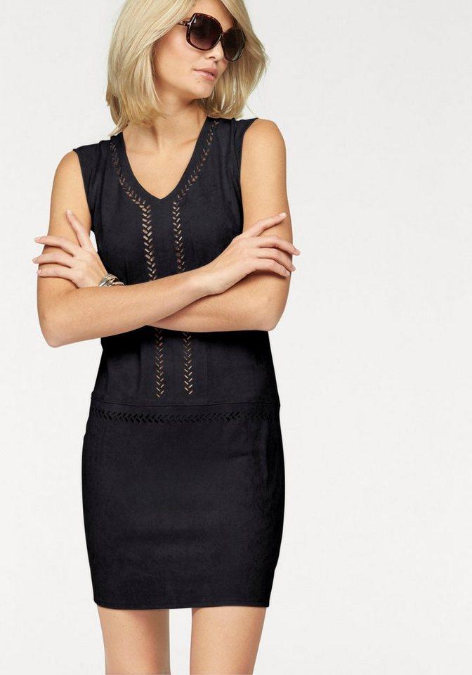 Laura Scott Etuikleid vorne aus perforiertem Lederimitat in schwarz