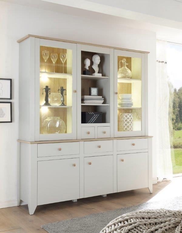 Home affaire Buffet »Landy«, Höhe 204 cm in Nebelgrau/ Eiche Carmaque NB