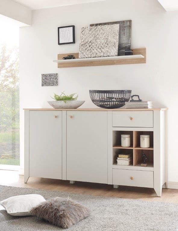 Home affaire Sideboard »Landy«, Breite 187 cm in Nebelgrau/ Eiche Carmaque NB